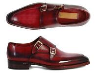 Paul Parkman Men's Double Monkstrap Shoes Black & Bordeaux (ID#PP3851)