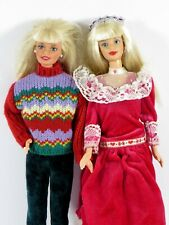 LOT #93-94 DRESSED BARBIE DOLL LOT OF 2 CHRISTMAS HOLIDAY HEART FAMILY DRESS