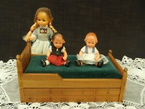 Vintage FOMERZ Miniature Dollhouse Handcrafted  Hardwood Double bed 1:12 Scale