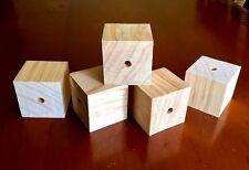 5 x Large Unfinished Pine Wood Cubes 42mm - Plain Baby Pet Toy DIY Craft Blocks
