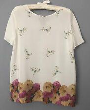 100% Silk Purificación Garcia Blouse Floral Off White Size 42 / 14 Aus BNWOT