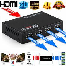 HD HDMI Splitter 1X4 4 Port Hub Repeater Amplifier v1.4 3D 1080p