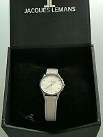 Ladies Jacques Lemans water resistant white faced watch with white leather strap