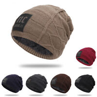 Men Slouchy Beanie Hat Warm Thick Plus Velvet Casual Solid NC Knitted Hat Unisex