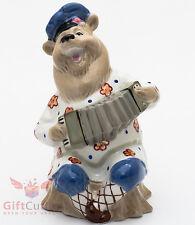 Russian Bear with Garmon accordion porcelain figurine souvenir hand-painted