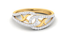 Pave 0.40 Cts Round Brilliant Cut Diamonds Engagement Ring In Certified 18K Gold
