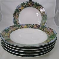 """6 Omnibus Habitat Americana Town & Country Fitz & Floyd Rimmed Soup Bowls 9"""""""