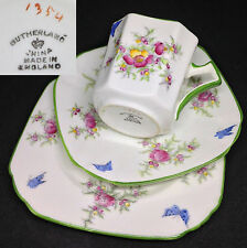 Sutherland c1920s 1354 Art Deco Square Green English Vintage Bone China Trio Set