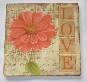 "Love Trivet Gerbera Daisy Brown Pink Orange New 7"" Square Cork Back"