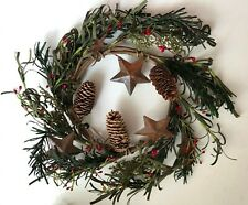 Rustic Holiday Wreath w/ Pinecones, Rustic Stars, Berries, 8 Inch, New