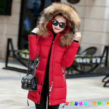 Womens New Winter Jacket Warm Long Down Coat Slim Padded Fashion Hooded Jackets