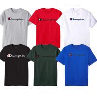 Champion Mens Classic Script Logo Short Sleeve T Shirt---Brand New---S-3XL