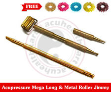 Sujok Acupressure Metal Megalong & Metal Mini Roller Jimmy + Free 5 Rings