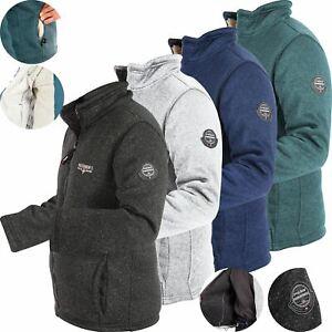 Men Premium Borg Sherpa Fleece Lined Heavy Fleece Zip Up Jacket Outdoor Cardigan