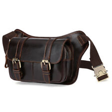 Men Chest Bag Genuine Leather Outdoor Riding Sling Messenger Fanny Waist Bags