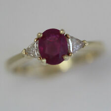 1.5 +CTW  Oval Natural Ruby & Diamond Engagement Ring Set in 18k Yellow Gold