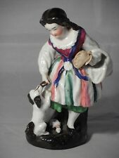 Antique Victorian Staffordshire? Pottery Figure Of A Girl Dog & Doll 14.5cm High