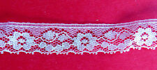 """SEWING VINTAGE .75"""" WIDE SCALLOPED EDGE FLORAL WHITE LACE TRIM ...7+ YDS"""