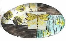 """Dragonfly Design 16"""" Decorative Glass Plate Hand Painted (slightly imperfect)"""