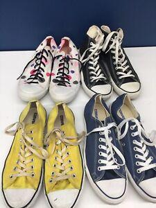 Used LOT 4 Pairs Converse Low Hi Top Sneakers Mens 10 Womens 12 Polka Dot Yellow