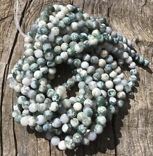 "8mm Natural Frosted Tree Agate Round Beads 15"" Strand Oz Seller"