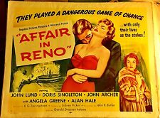 AFFAIR IN RENO! '57 JOHN LUND GAMBLING DRAMA HALF-SHEET FILM POSTER!