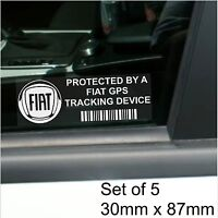 5 x FIAT GPS Tracking Device Security Stickers-Punto,Bravo,500-Car Alarm Tracker