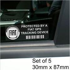 5 x FIAT GPS Tracking Device Security Stickers-Punto,Bravo,500-Car Alarm Tracker