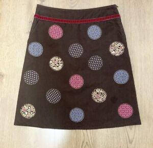 BODEN Skirt 10 R A-Line Brown Applique Cotton Patchwork Geometric Circle Retro