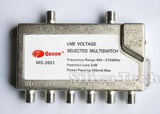 Gecen 2x6 13V/18V 2 in, 6 out Satellite LNB V/H multi-switch MS-2601