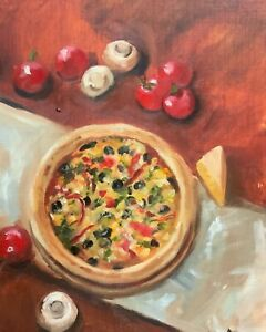 Original oil painting art still life Pizza contemporary art kitchen home decor