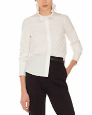 AKRIS PUNTO Ruffle Collar Neck Button Front Cotton Shirt Blouse Top MSRP $495