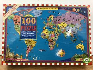 eeBoo MAP OF THE WORLD Childrens 100 Piece Puzzle  homeschool geography Complete