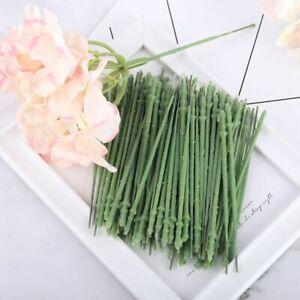 15pcs Artificial Flower Head Hydrangea Rose Peony Decoration Branch Green Stem