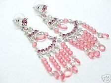 Beautiful New Pink Crystal Event Chandelier Earrings