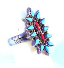 Vintage Southwest Zuni Needlepoint Sterling Silver Ring (Turquoise & Coral)
