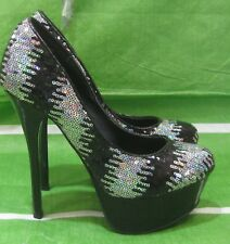"new Black Sequins 6""Stiletto High Heel 2""Platform Sexy Nightclub Shoes Size 5.5"