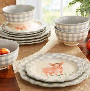 The Pioneer Woman Gingham Grey 12 Piece Dinnerware Set