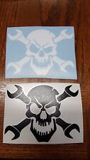 Skull and Cross Wrench Tool Vinyl Sticker Decal for Truck Window Mechanic Auto