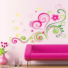 Wall Stickers Decal Pink Love Heart Shape Flower For Girl's Kids Home DIY Decor