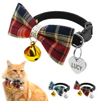 Pet Bow Tie Cat Dog Collars Necktie with Personalised ID Tag&Bell Engraved Free