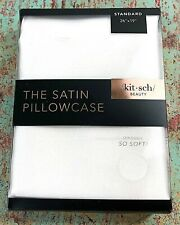 "KITSCH The Satin Pillowcase Standard Size 26""x19"" IVORY Invisible Zip NEW SEALED"