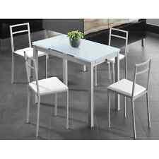 Mesa de cocina extensible 110/170x70 cm de cristal y metal