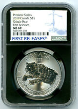 2019 $5 CANADA 1 OZ SILVER GRIZZLY BEAR NGC MS69 RARE FIRST RELEASES BLUE LABEL