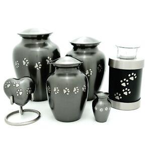 Silver Paw Print Walk Pet Cremation Urn keepsake,heart,small,med,large