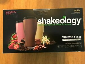 SHAKEOLOGY whey 24 Packets Variety Pack Chocolate Strawberry Vanilla  - sealed