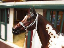 Jaapi Black & White Chevron halter w/lead - fit Breyer traditional model horse