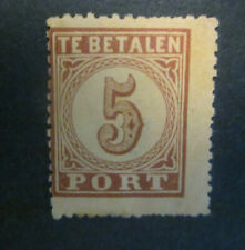 1870 Nederland PORT 1 MH , volle gom - 5 ct bruin op oranje
