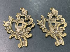 Set of 2 Vintage Art Deco Solid Brass Door Knob Back Plate Salvaged Hardware