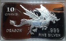 "10 grams .999 Fine Silver Bullion Bar, ""Dragon"" design, NEW!"